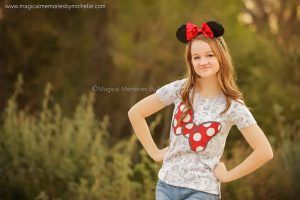 Mesa Senior Photographer Girl wearing Minnie Mouse outfit