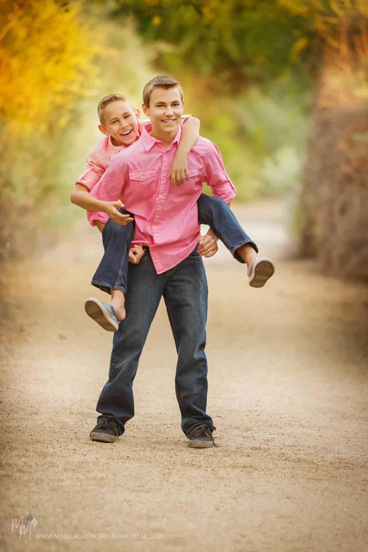 Family Photographer Brothers Piggyback Gilbert, AZ