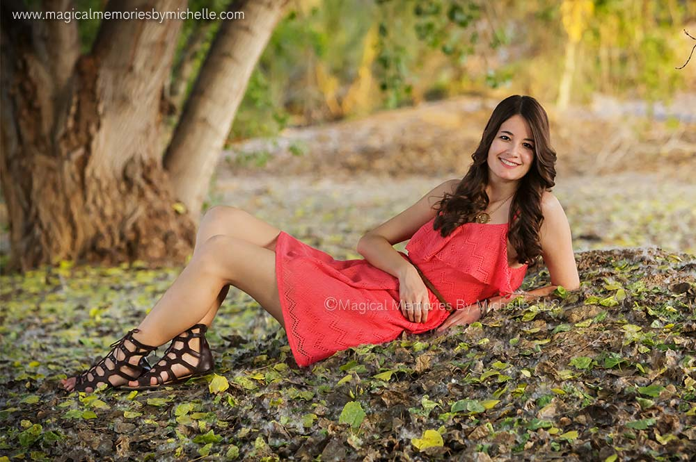 Beautiful fall leaves for graduation photos in Chandler, AZ