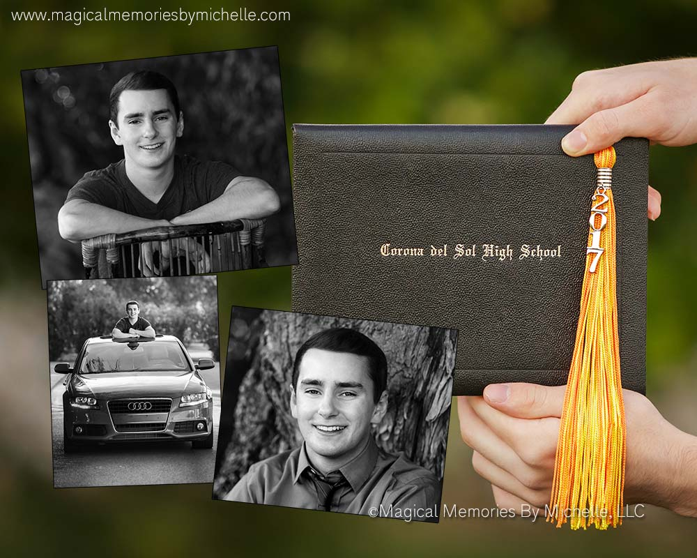 Collage of senior pictures from Tempe senior photographer