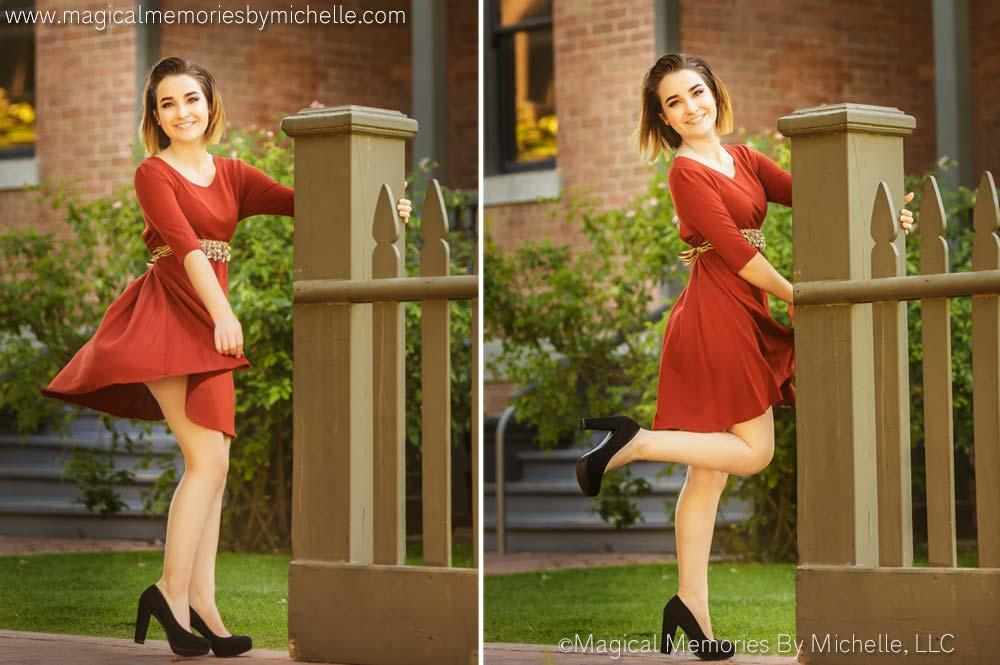 Girl twirls in dress for senior pictures taken by Phoenix Senior Photographer