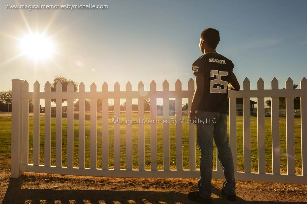 Chandler Senior Photos Football Sun Flare