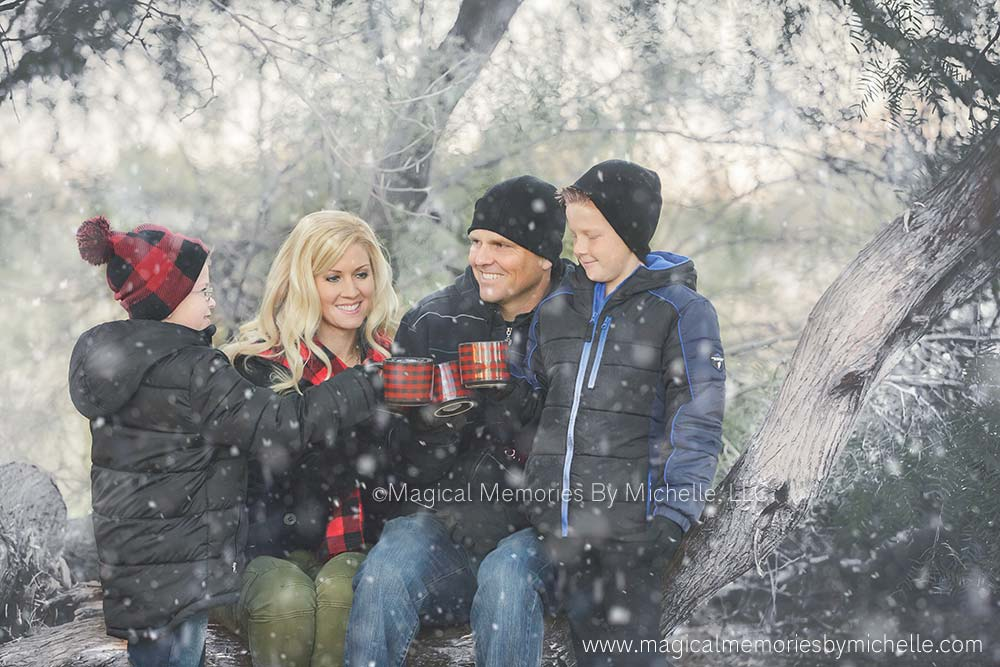 Gilbert Family Photographer | Family Pictures in the Snow for Christmas Cards